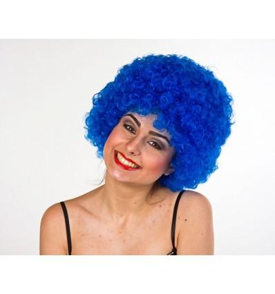 Perruque colorée de supporter bleue