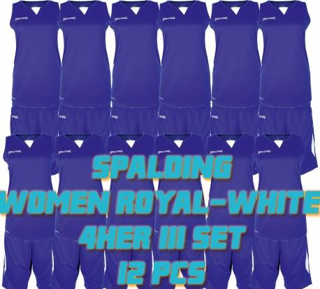 Set complet de jeux de maillot de match féminin For Her III Spalding bleu royal-blanc