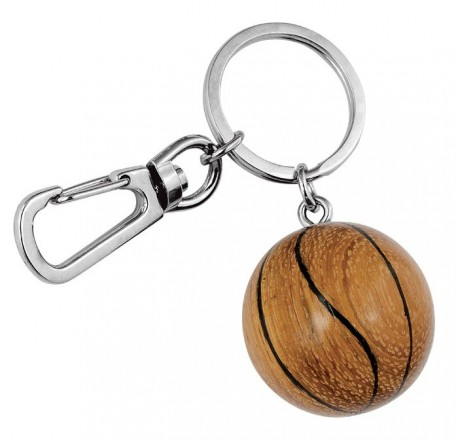 Porte-clé ballon de basket en bois